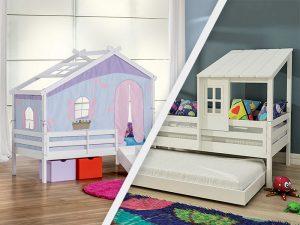 cama com telhado e tenda
