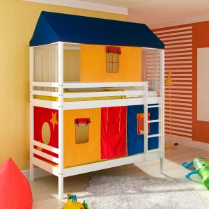 Beliche infantil Teen Play Telhado Completo e Tenda Multicores Exclusivo