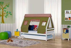 bicama infantil prime com telhado cabana verde