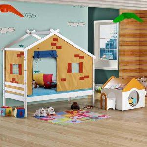 cama infantil com telhado e tenda