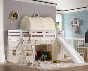 cama infantil prime com escorrega e tunel