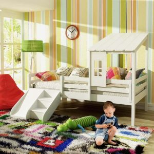 cama infantil prime com telhadinho gradede protecao