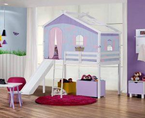 cama prime com telhado e tenda lilas e escorregador