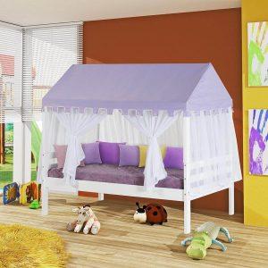 cama prime infantil com telhado lilas e mosquiteiro