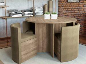 mesa com cadeiras embutidas