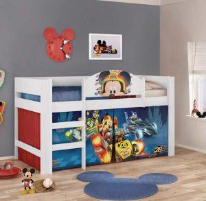 Cama Alta Infantil Mickey Disney Play com Cortina