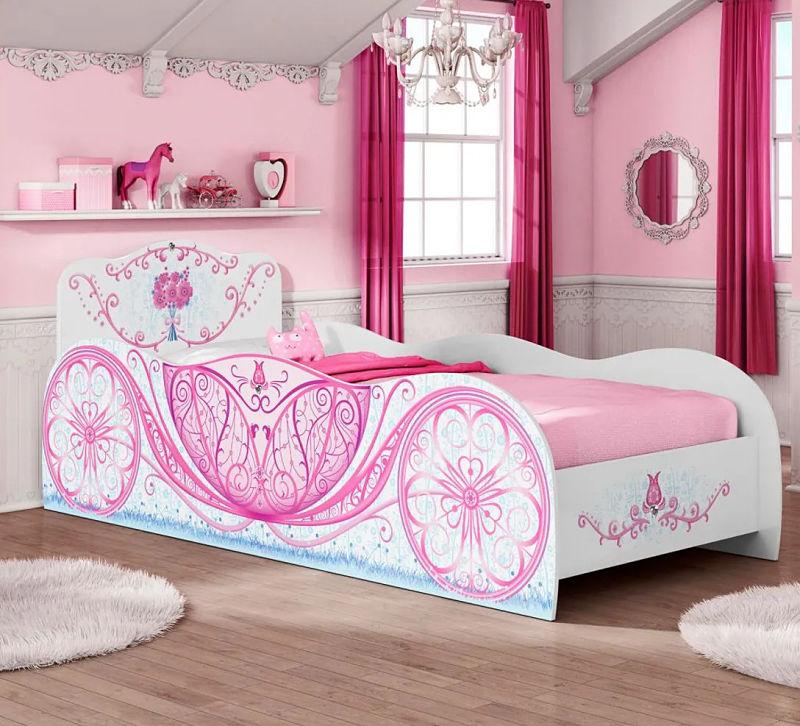 cama rosa de carruagem de princess