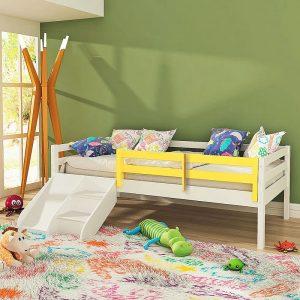 Cama Infantil Prime com Grade de Proteção Amarelo e Escadinha Escorrega