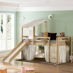 Cama Infantil com Escorregador, Tenda e Telhado