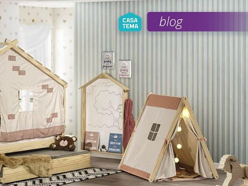 Cabana Infantil Casinha com tenda Salmão