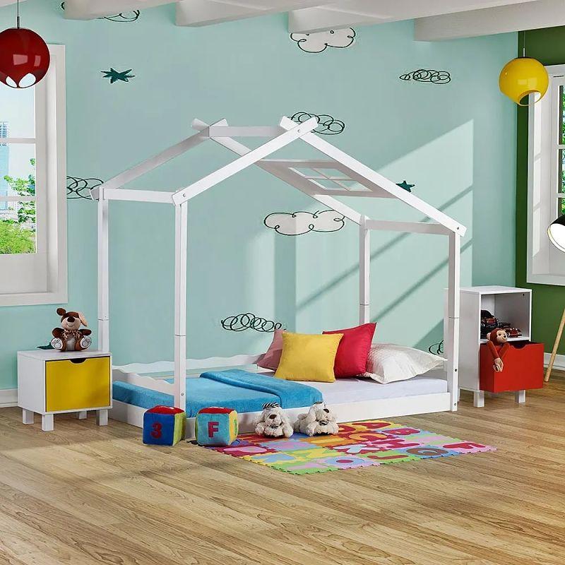 cama infantil montessoriano com telhado em V
