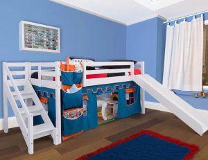 cama com escorregador infantil escada de fácil acesso castelo azul casatema