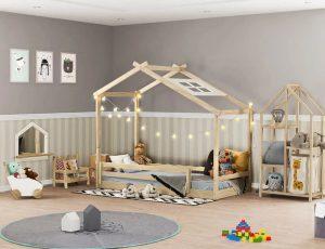 Quarto Infantil Montessoriano Telhado Estante Carrinho Luz Casatema