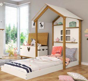 cama infantil solteira com prateleiras casinha