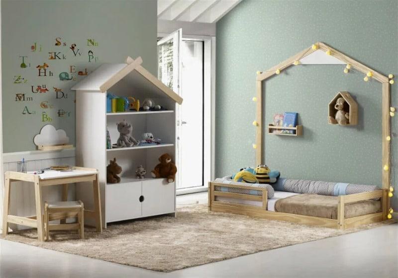 Quarto Infantil Graciosa Montessoriano Estante e Escrivaninha
