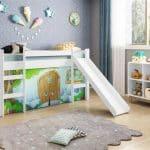 Quarto Infantil Cama Casinha Pedra Azul e Estante